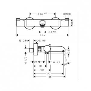 Termostatinis vonios maišytuvas Ecostat 13114000 Thermostatic water mixers