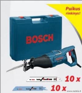 """Tiesinis pjūklas BOSCH GSA 1100 PCE Professional su 10 vnt. pjūklelių """"Flexible for metal"""" ir 10 vnt. pjūklelių """"Flexible for wood&metal"""" Lineāras griešanas zāģi"""