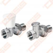 Tiesus komplektas: termostatinis ventilis, balansinis ventilis radiatoriui pajungti 1/2