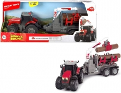 Traktorius Dickie Toys 203737003 Massey Ferguson with Friction Light, Sound and Trailer Battery 42 cm ТРАКТО