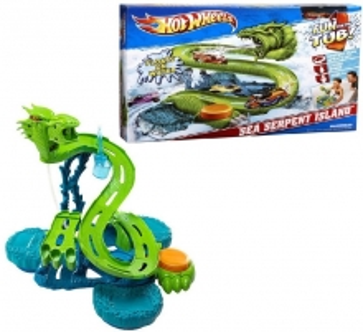 Trasa Mattel Hot Wheels V0463 Trase Sea Serpent Island Auto racing dziesmas bērniem