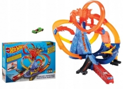 Trąsos rinkinys FTD61 Hot Wheels City Volcano Escape Connectable Play Set with Diecast and Mini Toy Car MATTEL