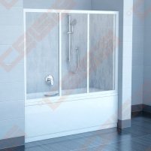 Trijų dalių stumdoma vonios sienelė AVDP3-170 su baltos spalvos profiliu ir pastiko Rain užpildu