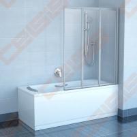 Trijų dalių sulankstoma vonios sienelė RAVAK VS3 100 su baltos spalvos profiliu ir skaidriu stiklu