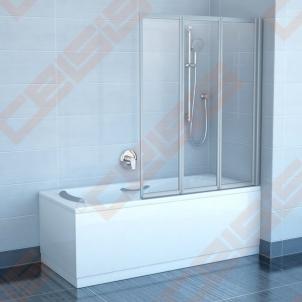 Trijų dalių sulankstoma vonios sienelė RAVAK VS3 130 su baltos spalvos profiliu ir skaidriu stiklu