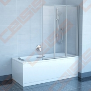 Trijų dalių sulankstoma vonios sienelė RAVAK VS3 130 su satino spalvos profiliu ir plastiko Rain užpildu