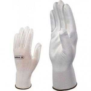 Trikotažinės pirštinės, aplietos baltu poliuretanu VE702 Siūtos darba cimdi