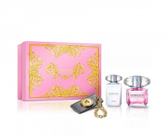 Perfumed water Versace Bright Crystal EDT 90 ml + kūno pienelis 100 ml + pakabukas (Set)