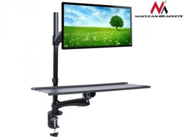 TV laikiklis Maclean MC-681 Single Monitor Sit-Stand Workstation Screen Keyboard Arm Bracket TV stovai, laikikliai