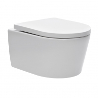 Toilet withspended Swiss Aqua Technologies, Brevis Rimfree, with slow rectractable cover Lavatory closets