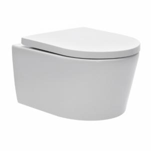 Tualete pakabinamas Swiss Aqua Technologies, Brevis Rimfree, ar lėtai nusileidžiančiu vaks Tualetes skapji