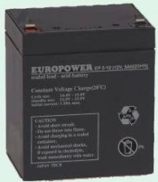 Europower rechargeable battery 12V/5Ah T2 (6,35mm)