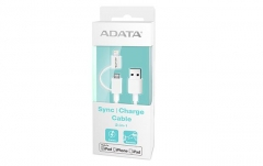 USB Kabelis ADATA, USB, MFi (iPhone, iPad, iPod), baltas