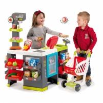 Vaikiška parduotuvė Maxi su vežimėliu ir priedais 50 vnt | Smoby Lavinimo žaislai