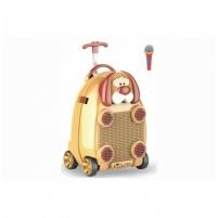 Vaikiškas lagaminas - kolonėlė su mikrofonu, ratukais ir rankena Muzikiniai žaislai