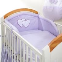 Vaikiškas patalynės komplektas ''Violetinė Širdelė'', 6 dalių, 90x120 cm