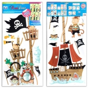 Vaikų ūgio matuoklė 02 piratai 20 - 170cm kambario dekoracija Kanceliarinės prekės vaikams