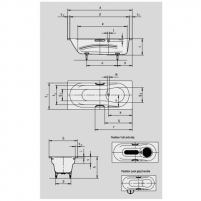 Vaio set vonia 170X75X43cm su skylėmis rankenėlėms Vonios