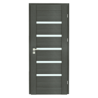 Varčia ECO-GRANDE6 D08 U305 (Vengė žievė-Verto Line-3d) /su užlaida(akt) /3 vyriai/spyna Standard (WB-cilind., bsr) /Stiklas-satinato/be ventiliacijos Veneered doors