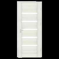 Varčia ECO-GRANDE6 K07 U301 (Balta žievė-Verto Line-3d) /su užlaida(akt) /3 vyriai/spyna Standard (WB-cilind., bsr) /Stiklas-satinato/be ventiliacijos Veneered doors