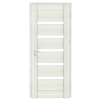 Varčia ECO-GRANDE6 K08 U301 (Balta žievė-Verto Line-3d) /su užlaida(akt) /3 vyriai/spyna Standard (WB-cilind., bsr) /Stiklas-satinato/be ventiliacijos Veneered doors
