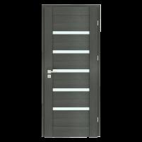 Varčia ECO-GRANDE6 K08 U305 (Vengė žievė-Verto Line-3d) /su užlaida(akt) /3 vyriai/spyna Standard (WB-cilind., bsr) /Stiklas-satinato/be ventiliacijos Veneered doors