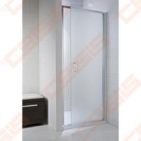 Varstomos vieno elemento dušo durys JIKA CUBITO PURE 100x195, kairė/dešinė, su blizgaus sidabro profiliu ir skaidriu stiklu