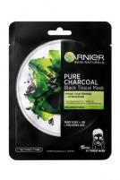Veido kaukė Garnier Black Textile Mask with Seaweed Extract Pure Charcoal Skin Natura l s (Black Tissue Mask) 28 g Kaukės ir serumai veidui