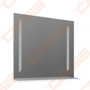 Mirror ORISTO SILVER 90 cm pločio, LED apšvietimas, white blizgi