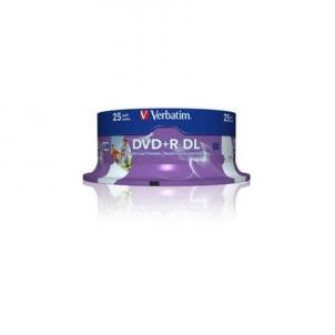 Verbatim double layer DVD+R 8.5GB 8X 25pack AZO ''Cake'' dėžutė printable - 43667