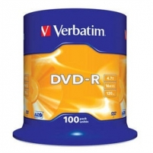 Verbatim DVD-R 4.7GB 16X 100pack matte silver/AZO ''cake'' dėžutė - 43549