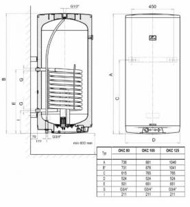 Vertikalus kombinuotas pakabinamas vandens šildytuvas Dražice OKC100, 95 l