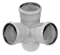 Vidaus kanalizacijos keturšakis WAVIN OPTIMA, erdvinis, d 110, 67* Vidaus nuotekų keturšakiai