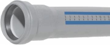 Vidaus kanalizacijos vamzdis HTEM su mova, d 50, 1000 mm Iekšējie kanalizācijas caurulēm