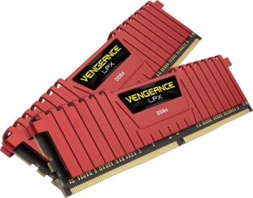 Vidinis kietasis diskas DDR4 Corsair Vengeance LPX Red 16GB (2x8GB) 3000MHz CL15 1.35V