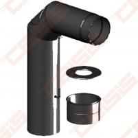 Vienasienis juodo plieno komplektas Dn180 JEREMIAS Ferro1416: dūmtraukis-alkūnė 90° su užsklanda ir pravala, sienine apdaila, sieninė rozetė Skursteņi un to sastāvdaļām