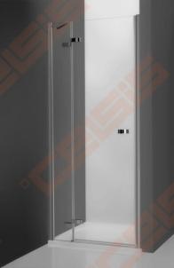 Vieno elemento varstomos dušo durys ROLTECHNIK ELEGANT LINE GDNL1/100, skirtos montuoti į nišą, su brillant spalvos profiliu ir skaidriu stiklu (kairė)