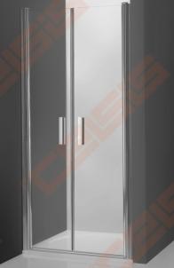 Vieno elemento varstomos dušo durys ROLTECHNIK TOWER LINE TCN2/80 skirtos montuoti į nišą su brillant spalvos profiliu ir skaidriu stiklu