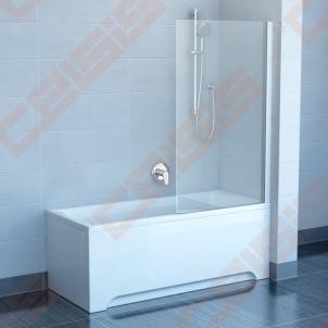 Vienos dalies stabili vonios sienelė RAVAK PVS1-80 su baltos spalvos profiliu ir skaidriu stiklu