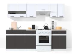 Virtuves komplekts Junona 240 Balta blizgi/pilka Virtuves mēbeļu komplekti