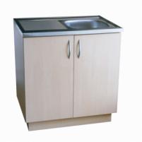 Virtuvinė spintelė, uždedamai 80cm plautuvei, balintas beržas (be plautuvės) Standing kitchen cabinets