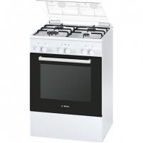 Viryklė Bosch Cooker HGD425120S Hob type Gas, Oven type Electric, White, Grilling, Free standing, Number of burners/cooking zones 4, No, No, 71 L Viryklės