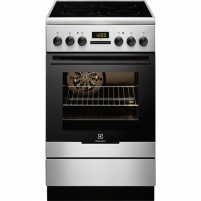 Viryklė Electrolux Cooker EKC54550OX Freestanding, Stainless steel/ black, Width 50 cm, Integrated timer, 60 cm, LED, Electric, Electric, 57 L