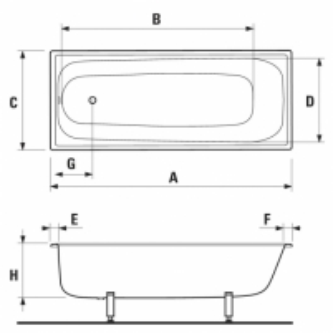 Vonia plieninė JIKA-RiGA 1200x700mm