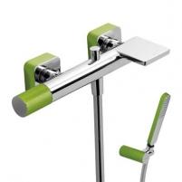 Vonios/dušo maišytuvas LOFT Colors su dušo komplektu, žalia/chromas