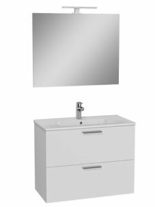 Vonios kambario baldų komplektas Vitra Mia, 80 cm baltas Vonios spintelės