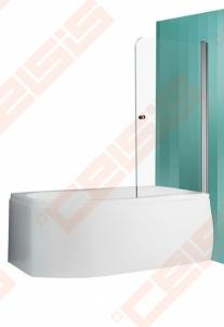 Vonios sienelė ROLTECHNIK TV1/80 su sidabro profiliu ir skaidriu stiklu, dešinė Dušo sienelės, durys