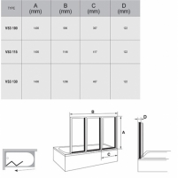 Vonios sienelė VS3 100/115/130X140cm Vonios priedai