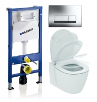 WC rėmo komplektas WC GEBERIT ir IDEAL STANDARD Connect Aquablade su soft-close dangčiu