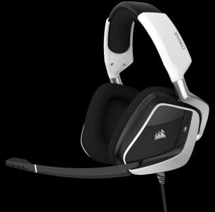 Žaidimų ausinės Corsair Void Pro RGB USB Dolby 7.1, Baltos (EU) Laidinės ausinės